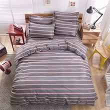 Wholesale high quality Simple stripe edredon king size 4pcs Bedding sets Cotton bed sheet duvet cover pillow case or kids sheet