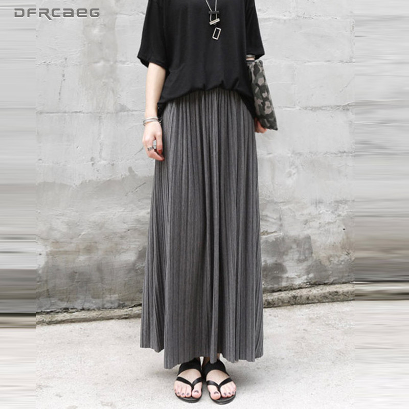 Autumn Winter Cotton Elastic High Waist Maxi Skirts Womens Fashion Streetwear Vintage Falda Pleated Long Skirt Female Saia Longa