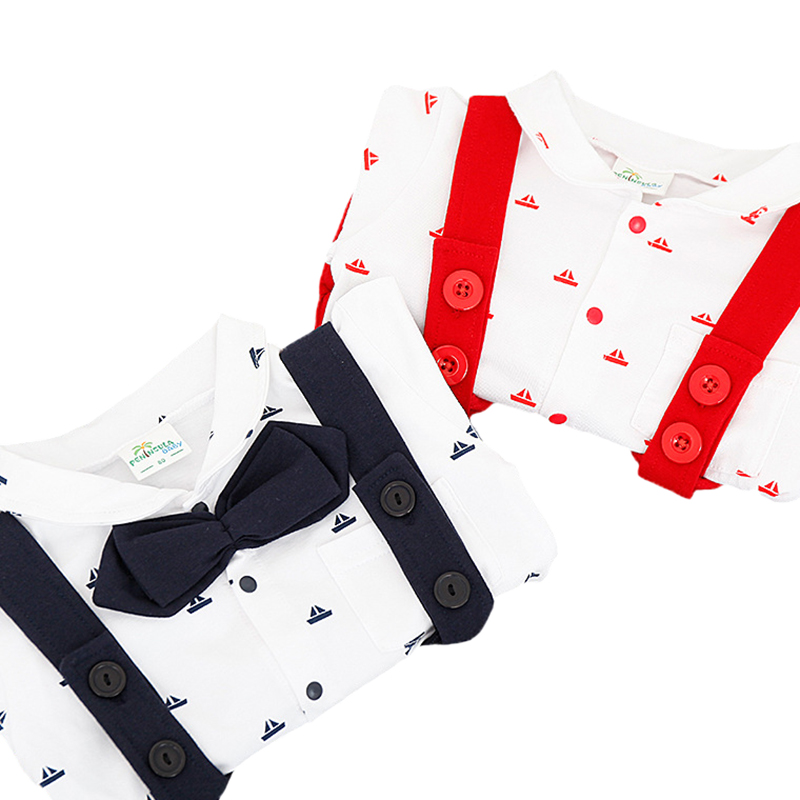 Nowe letnie pajacyki dla niemowląt Chłopcy ubrania kraciaste - Odzież dla niemowląt - Zdjęcie 3
