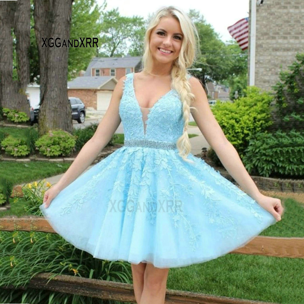 Sexy V Neck Sky Blue Short Prom Dress Applique Beaded Belt Homecoming Dress Cute Girl Backless