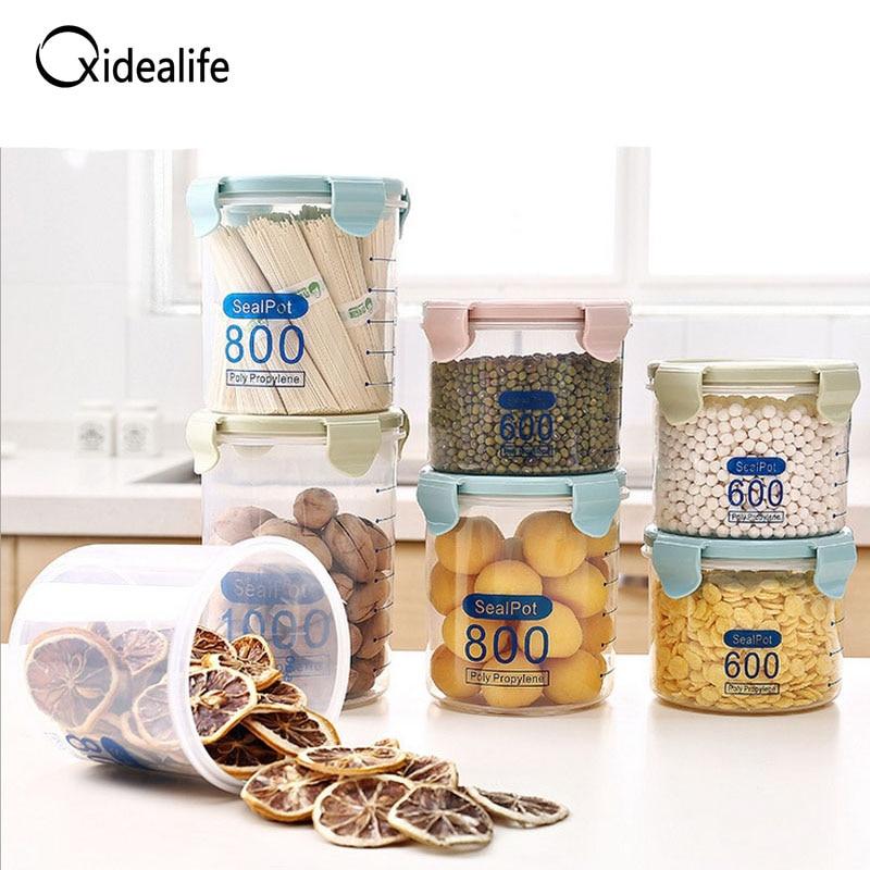 3pcs/set 0.6L/0.8L/1L Food Grade PP Sealed Jar Food Storage Seaked Tank Kitchen Cereal Storage Box Storage Tank Tool candy cans