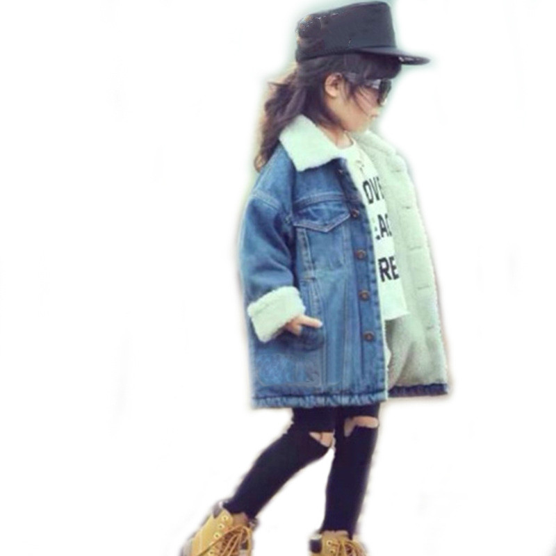 Boys and Girls Denim Jacket with Fleece Jackets Childrens Lapel Warm Thickening Coat Outerwear 3-8 YearsBoys and Girls Denim Jacket with Fleece Jackets Childrens Lapel Warm Thickening Coat Outerwear 3-8 Years