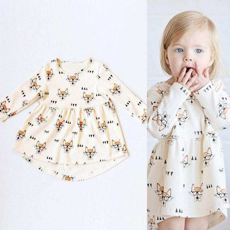 Girls Dress Fox Print Dress Baby Clothes 2017 Spring Casual Style Cotton Halloween Long Sleeve Cartoon Cute Dress Kids Clothes