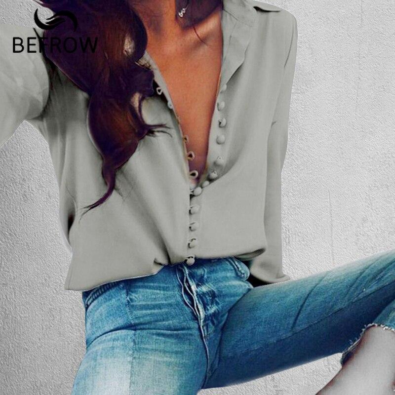 BEFORW Mode Bluse Tops Der Frauen Weibliche Elegante Langarm Schwarz Weiß Bluse Shirt Casual Streetwear Baumwolle Taste Bluse
