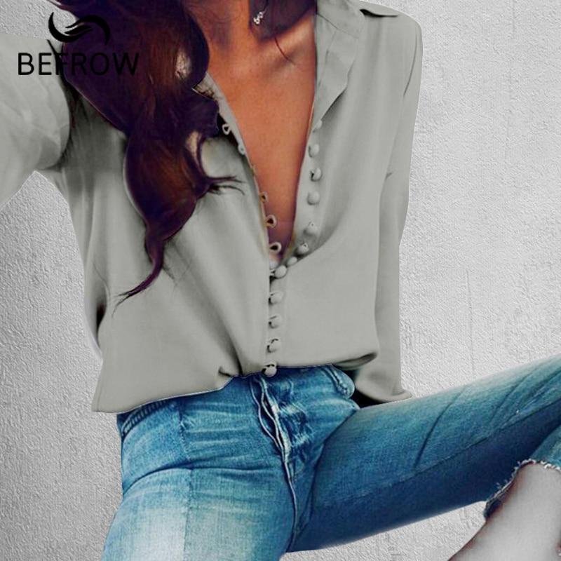 Blusa de moda BEFORW Tops mujer elegante manga larga negro blanco blusa camisa Casual Streetwear algodón botón blusa