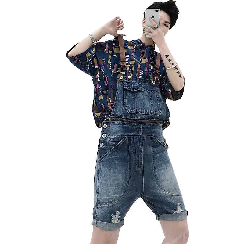 Spring And Summer New Male Suspenders Casual Blue Denim Overalls Pockets Men's Bib Boyfriend Short Jumpsuits Size M-XL