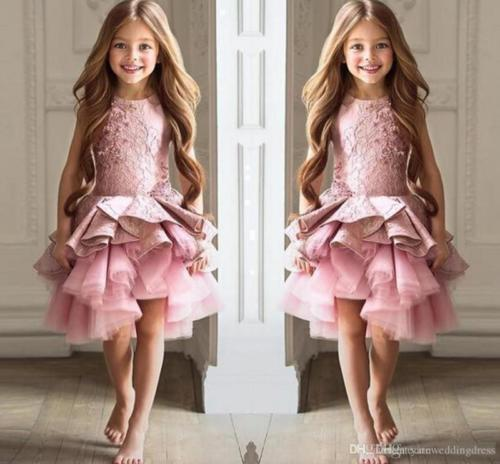 Pink Tulle Lace Communion Pageant Prom Party Ball Gown Formal Flower Girl Dress Costume For Kids gorgeous lace beading sequins sleeveless flower girl dress champagne lace up keyhole back kids tulle pageant ball gowns for prom