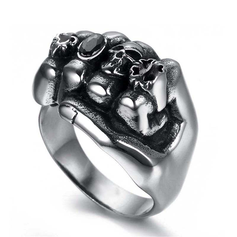 2018 Retro Stainless Steel Biker Men Rings Gothic Black Rhinestone Skull  Anarchy Death Fist Skull Ring Jewelry wholesale