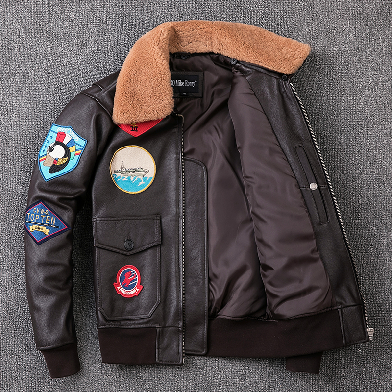 HTB1Uu0hXE rK1Rjy0Fcq6zEvVXa9 2019 Brown Men TOP GUN Pilot Leather Jacket Wool Collar Plus Size XXXL Genuine Cowhide Winter Russian Aviator Coat FREE SHIPPING
