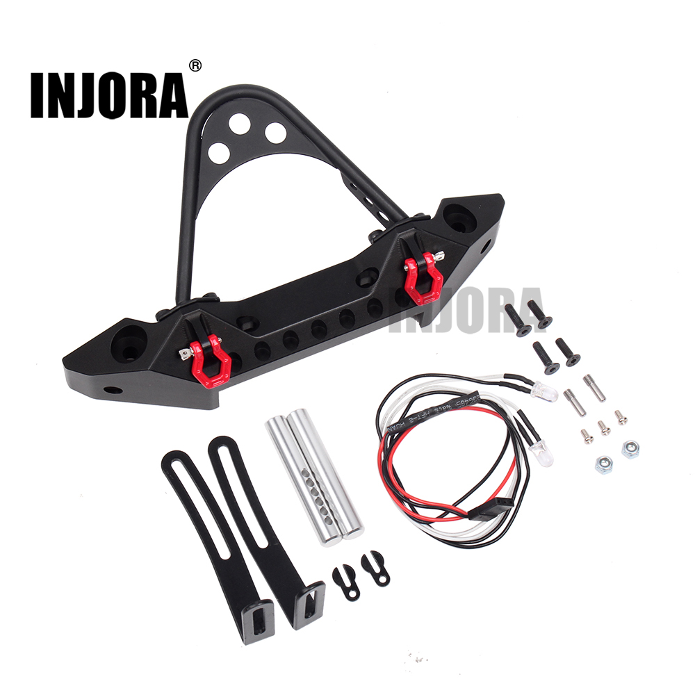 INJORA Metal Black Front Bumper with Light for 1/10 RC Crawler Car Traxxas TRX-4 Axial SCX10 & SCX10 II 90046 1 10 rc climbing car part cnc metal alloy front bumper collision for traxxas trx 4 trx4 axial scx10 including lights