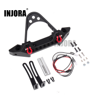 INJORA Metal Black Front Bumper With Light For 1 10 RC Crawler Car Traxxas TRX 4