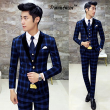Classic Complete Mens Plaid Suits Beach Wedding Tuxedo Skinny Prom Suits Boys 3 Pieces (Jacket + Vest + Pants) Suit for Men 2017