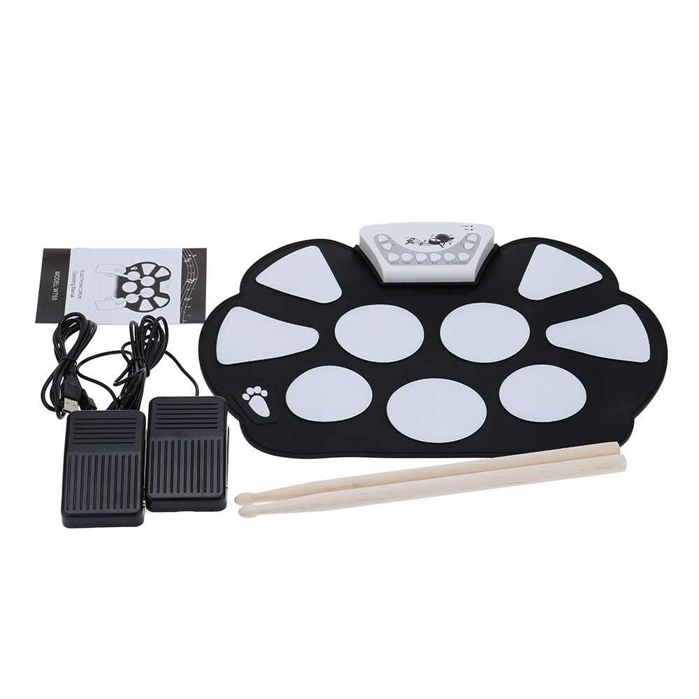 New Professional Roll up Drum Pad Kit Silicon Foldable with Stick Portable Drum Electronic Drum USB Drum