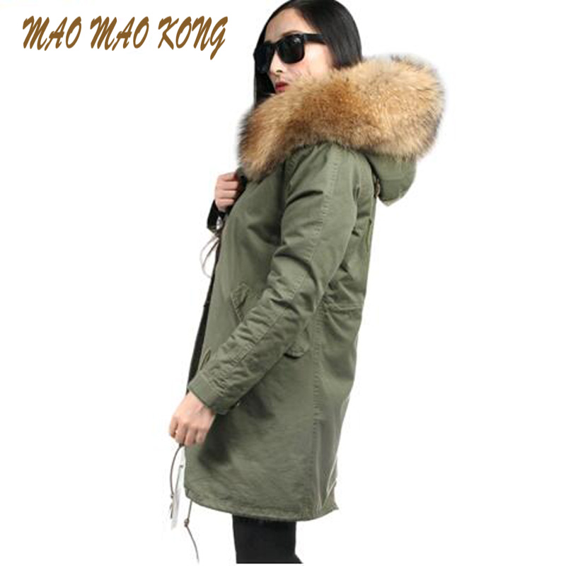 2017 Winter Coat Women Fashion European Stlye Detachable Fur Liner Women's Winter Jacket Long Large Raccoon Fur Hooded Parka