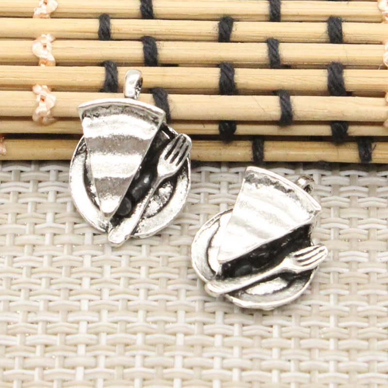 10pcs Charms slice of pie plate fork 19*13mm Tibetan Silver Plated Pendants Antique Jewelry Making DIY Handmade Craft