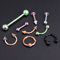 10pcs/lot Mix Colors Stainless Steel Balls Circulars Horseshoes Barbell Ring Eyebrow Nose Rings Body Piercing Jewelry