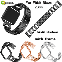 Alloy Crystal Stainless Steel Watch Bands Strap For Fitbit Blaze Smart Watch Band Bracelet 23mm Wristband With Metal Frame Case watchbands stainless steel strap bands bracelet black silver gold with tool for fitbit alta blaze tracker smart wristband