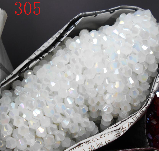 Não-hialina Branco AB Cor 100 pcs 4 milímetros Bicone Áustria Contas de Cristal charme Contas de Vidro Solto Spacer Bead fazer jóias