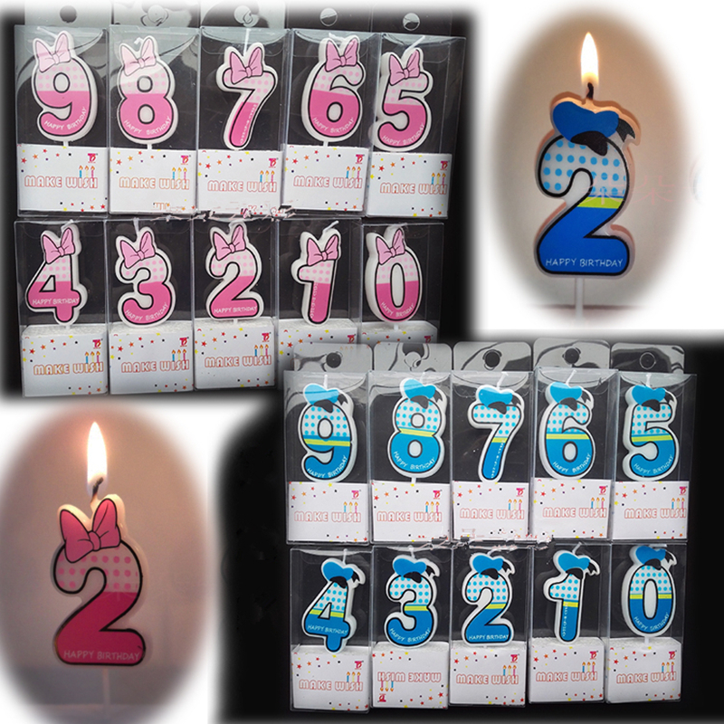 1 Pc Cute Boys Girls Happy Birthday Candle Design 5cm Height 0-9 Anniversary Cake Numbers Age Party Supplies Decoration Gift
