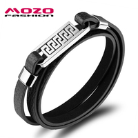 MOZO FASHION Men Bracelet Multilayer Leather Rope Chain Bracelets Stainless Steel Charm Bracelet Vintage Male Jewelry