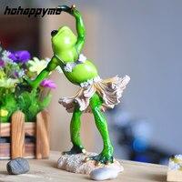 Creative Miniature Frog Animal Hadas Resina Dancing Frog Resin Crafts Mini Garden Accessories For Home Decor