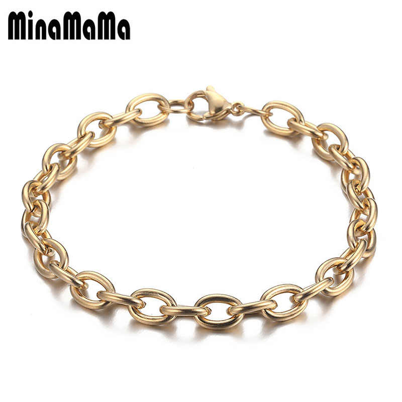 Gold Silver Color Circle Chains Link Stainless Steel Bracelets For Women Men DIY Handmade Bracelets Jewelry Gift