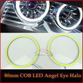 80mm 93 COB LED Angel Eyes Halo Ring DRL/Daytime Running Lights Super Bright White