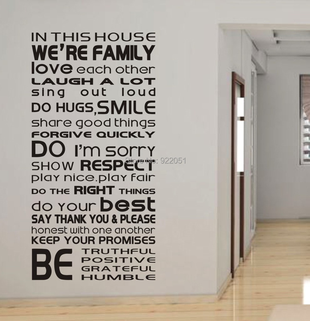 Free Shipping In This House We Are Family Love Each Other...Large Wall  Picture For Living Room Word Art Quote Sticker In Wall Stickers From Home U0026  Garden On ... Part 78