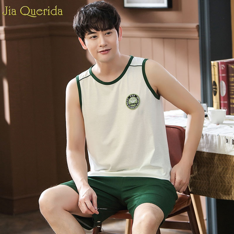 2019 New Fashion Home Suits Sleeveless Cotton Sleepwear Green Pajama Pants Big Size 4xl Summer Home Shorts Men's Chinese Pajamas