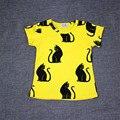 Moda gato impressão camisetas para meninos das meninas t camisa estilo verão roupas da família do bebê dos miúdos roupas vetement enfant reine