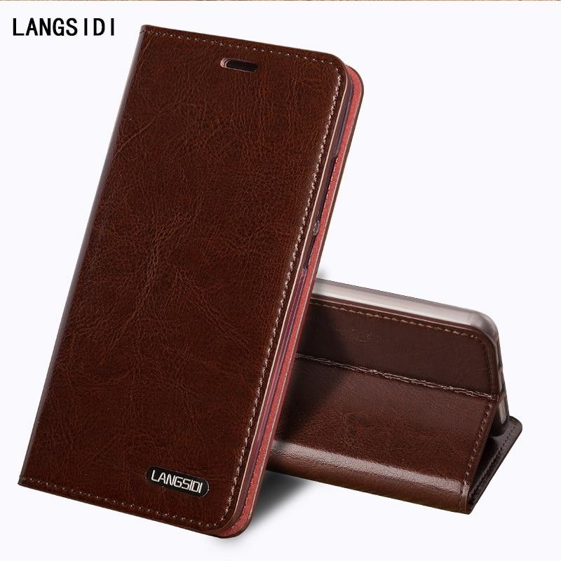 LANGSIDI Flip Genuine Leather Case For Huawei Honor 6X BLN AL10 Cover Stand Wallet Card Holder Magnetic Business Bag