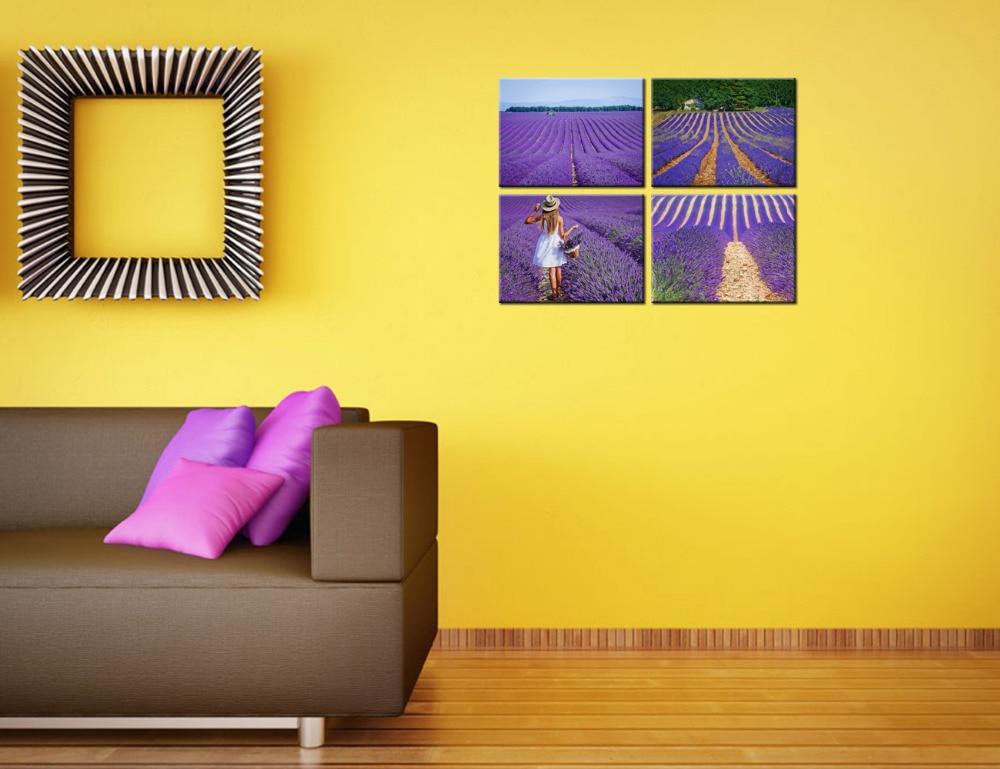 Super HD Imprimer Provence Lavande Champ Paysage Peinture Fille avec  KM85