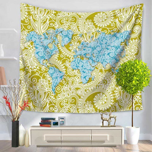 Aliexpress buy world map tapestry indian mandala wall hanging world map tapestry indian mandala wall hanging sandy beach picnic throw rug bedspread cover yoga mat gumiabroncs Gallery