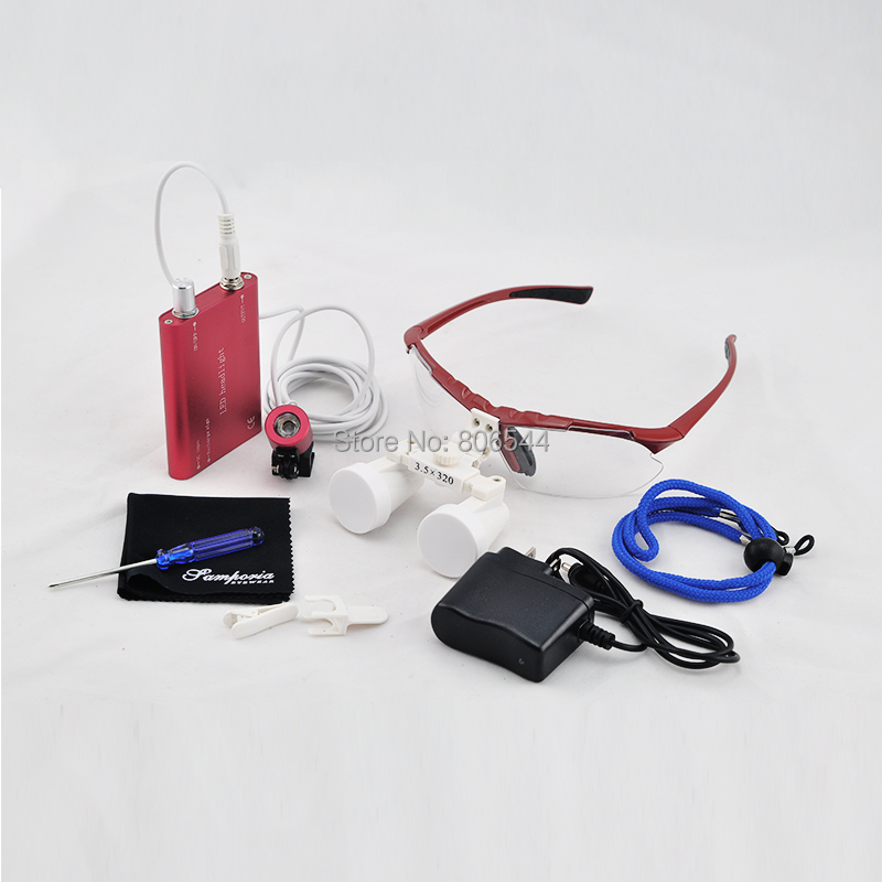Free shipping Hot selling LED HeadLight + 3.5 X Dental Surgical Medical Binocular Magnifier Loupes Red color for dentist W+A hot selling for toyota ecu self learn tool free shipping with best price shipping free