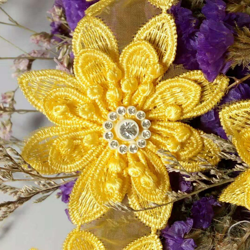 1 yard 3D Orange Diamond Flower Floral Embroidered Lace Trim Applique Fabric Ribbon Sewing Craft For Costume Hat Decoration in Lace from Home Garden