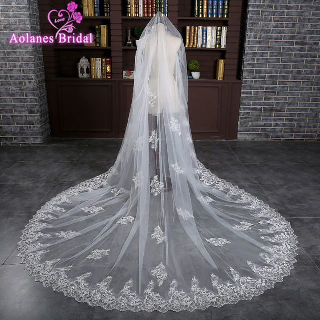 1f202cb3f9940 Luxury 3 m Sequined Lace Appliques Wedding Veils Long Tulle Ivory White Cathedral  Bridal veils with Comb Wedding Accessories