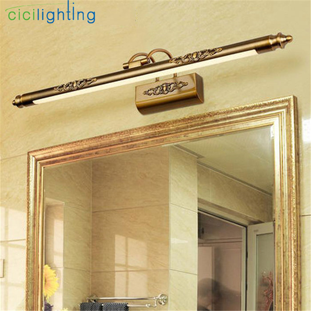 110V 220V L50cm L70cm L90cm American Retro Bronze Lamp Led Mirror Light Bathroom Cabinet Vanity Make-up Consmetic Light Fixtures(China)