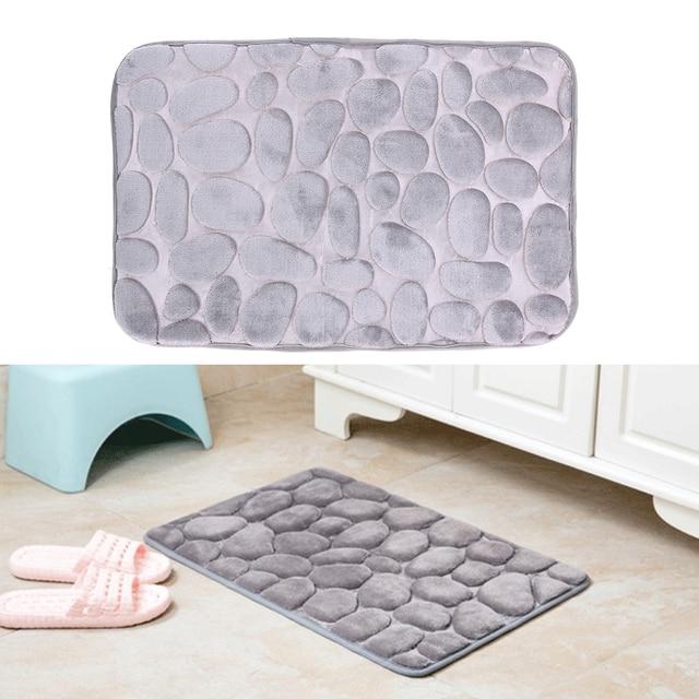 Gray Bathroom Carpet Comfortable Door Mat Kitchen Bathroom Toilet WC Mat Non-Slip Flannel Non-toxic PVC Bath Badematte 40x60cm