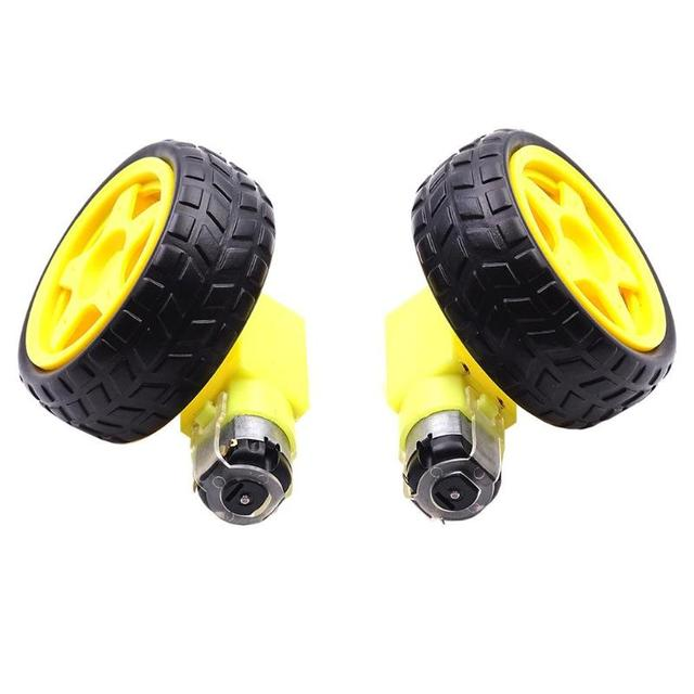 2pcs Smart Car Wheels 1 48 Rc Chis Deceleration Dc Motor Supporting