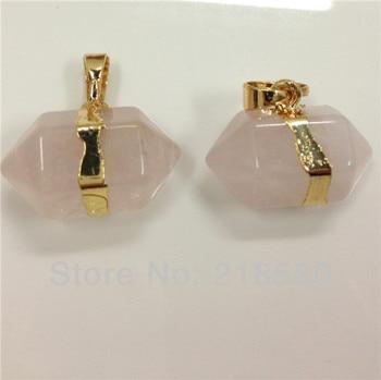 H-RQP036 10pcs  Rose Quartzs Petite Nugget Pendant with Gold Layered Edging