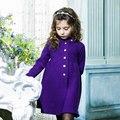 Дети платья для девочек Монохромный Теплый Ветровка семьи сопоставления одежда Рождественские костюмы для девочек одежда 1688