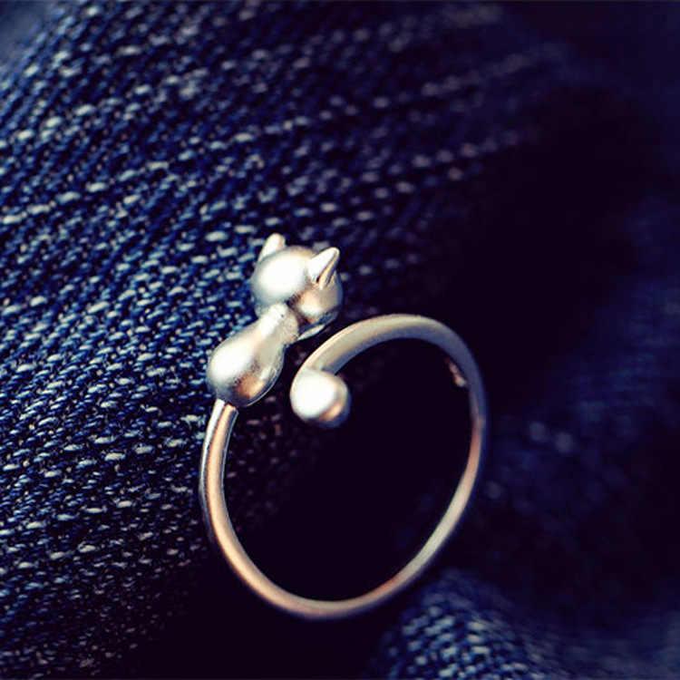 100% 925 Sterling Silver Hypoallergenic Hewan Cat Stud Earrings Untuk Wanita Hadiah Sterling-perak-perhiasan perempuan Brincos Bijoux