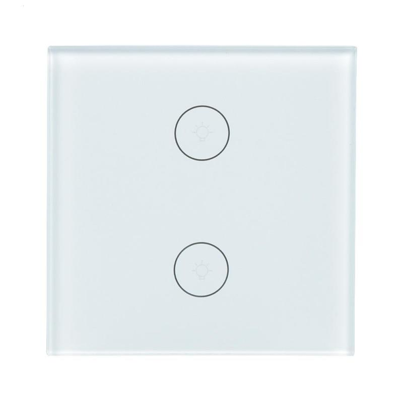 EU WiFi Smart Switch 2 Gang Wireless Light Wall Switch Touch Panel APP Control Work with Amazon Alexa Google Home IFTTT Timing wireless wifi switch smart home automation module timer diy light wall switch app control work with amazon alexa voice control