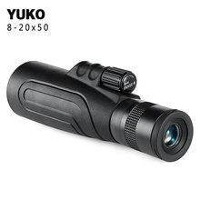 Yuko 8-20x50 Monocular High Powered Zoom telescope all optical glass one-hand focus monocular FMC BAK4 Prism hunting camping