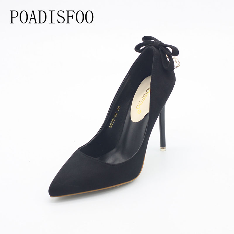 POADISFOO  Woman shoes super high heels pumps thin heels flock face party wedding Bow tie sexy  diamond shoes .ZWM-9616