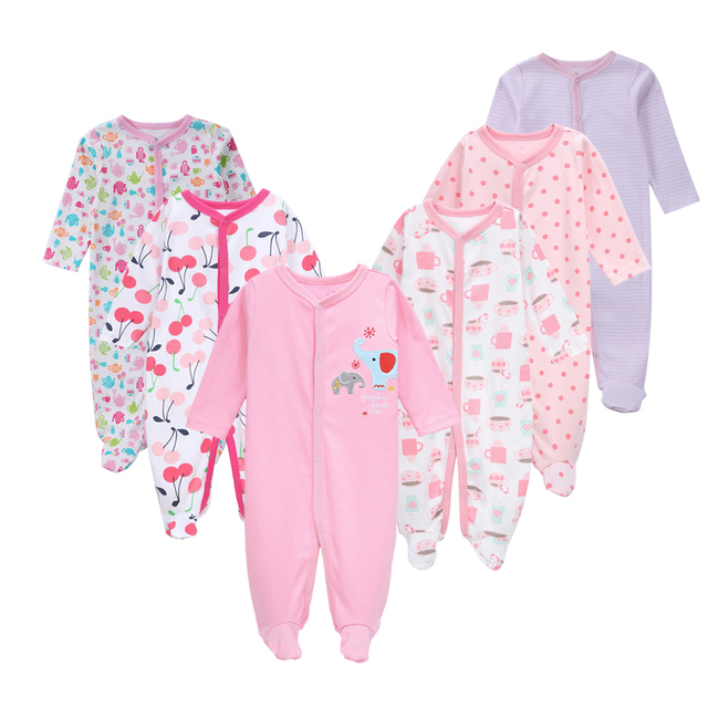 500471405f33 3 4 5 6 Pcs set Cotton baby rompers suit newborn baby girl clothes ...