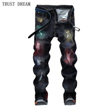 2018 New European Designed Men Fashion Colorful Painted Gold Slim Jeans Graffiti Golden Print Special Man Personal Amazing Jean