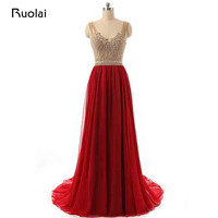 Real Picture New Straps V Neck Chiffon Beaded Top Red Evening Dresses Long Prom Dress Party Gown Robe de Soiree ASAE42