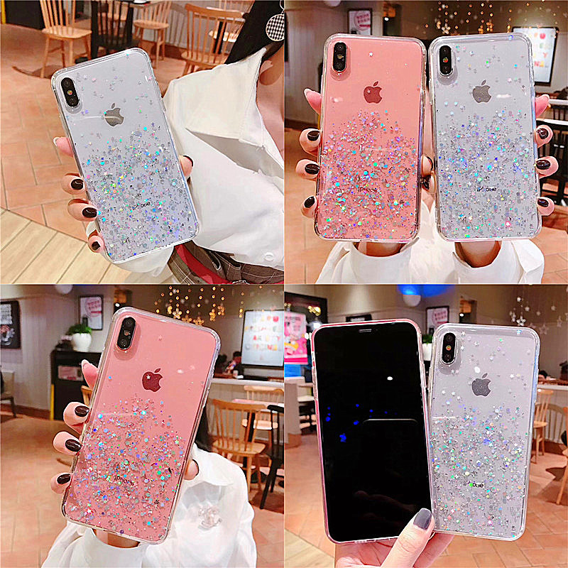 HTB1Uu3BaA5E3KVjSZFCq6zuzXXaU - Luxury Bling Glitter Stars Sequins Case For iPhone 11 Pro XS MAX XR X Transparent Silicone Case For iphone 8 7 6 6S Plus Cover