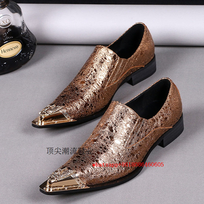 Plus size gold steel toe mens pointy glitter shoes genuine leather mens  velvet loafers slip on formal shoes oxford shoe lasts eba07f1b23ca